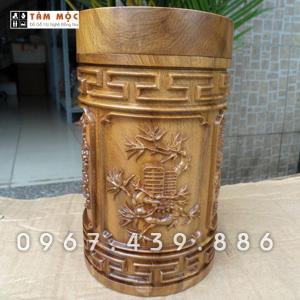 Hộp trà gỗ bách xanh - Mẫu Tứ Quý
