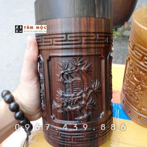 Hộp trà gỗ mun - Tứ Quý