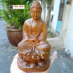 Tượng Phật A Di Đà để xe ô tô gỗ bách xanh