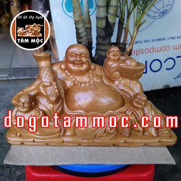 Tượng Phật Di Lặc Tam Phúc gỗ bách xanh
