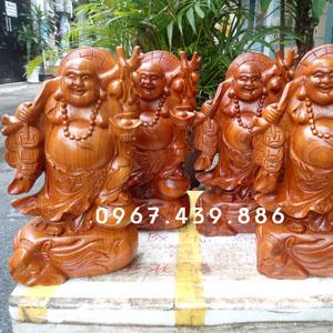 Tượng Phật Di Lặc vác cành đào gỗ hương cao 40cm