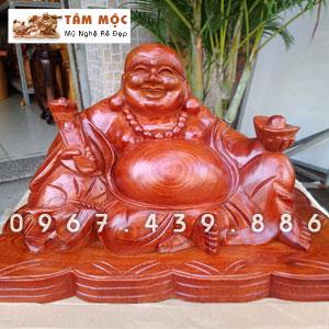Tượng gỗ Phật Di Lặc ngồi đế tiền gỗ hương