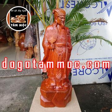 Tượng Khổng Minh (Gia Cát Lượng) bằng gỗ hương