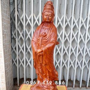 Tượng Phật Bà Quan Âm gỗ hương cao 60cm