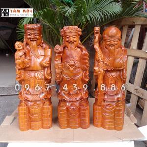 Tượng Phúc Lộc Thọ (Tam Đa) gỗ hương cao 50cm