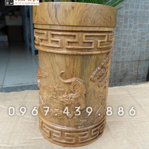 Hộp chè gỗ bách xanh - Mẫu Anh Hùng Tương Ngộ