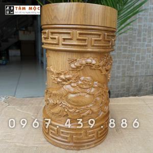 Hộp trà gỗ bách xanh - Mẫu Phật Di Lặc