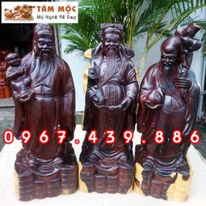 Tượng gỗ Phúc Lộc Thọ - Tam Đa bằng gỗ cẩm lai Việt
