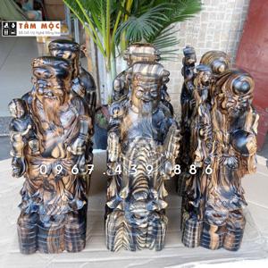 Tượng Phúc Lộc Thọ gỗ mun