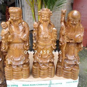 Tượng gỗ Tam Đa - Phúc Lộc Thọ gỗ bách xanh cao 40cm