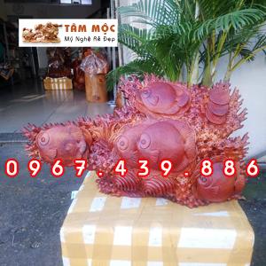 Tượng gỗ Cá Đồng Tiền tài lộc bằng gỗ hương Việt