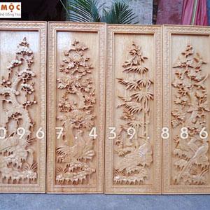 Tranh Tứ Quý (Tranh Bốn Mùa) gỗ pơ mu