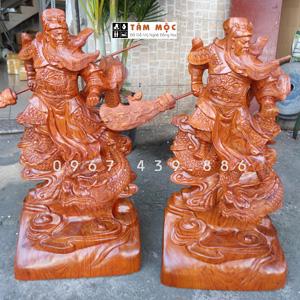 Tượng Quan Công cưỡi rồng gỗ hương