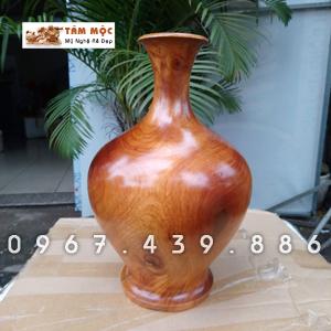 Bình gỗ trang trí gỗ gõ đỏ (cà te)