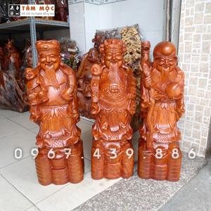 Tượng gỗ Tam Đa - Phúc Lộc Thọ gỗ hương cao 70cm