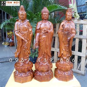 Tượng gỗ Tam Thế Phật - Tây Phương Tam Thánh gỗ hương