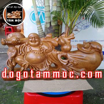 Tượng Phật Di Lặc kéo bao tiền gỗ bách xanh