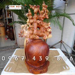 Bình gỗ hoa mai, tượng gỗ hoa mai gỗ hương Việt
