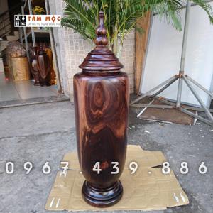 Bình trang trí bằng gỗ chiu liu bông
