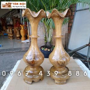 Cặp bình củ tỏi gỗ chòi mòi