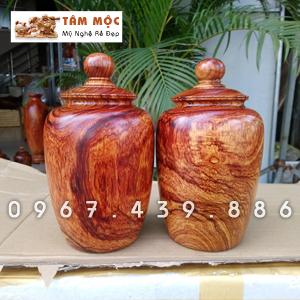 Cặp chum gỗ cẩm lai Việt vân đẹp