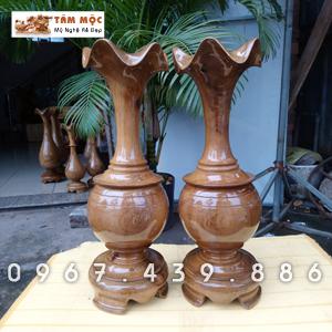Cặp bình củ tỏi bằng gỗ chòi mòi
