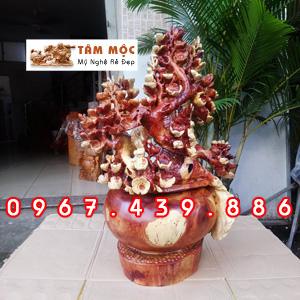 Bình hoa mai phú quý gỗ hương