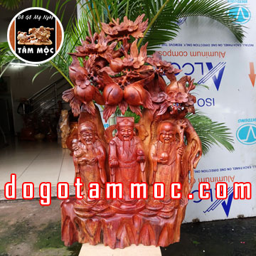 Tam Đa - Phúc Lộc Thọ đứng gốc đào gỗ hương Việt