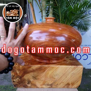 Bình gỗ trang trí phong thủy bằng gỗ gõ đỏ (hay còn gọi là gỗ cà te) Việt