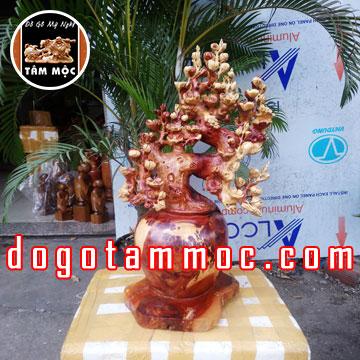 Bình phú quý hoa mai điểu gỗ nu hương
