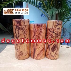 Hũ đựng trà gỗ cẩm lai Việt