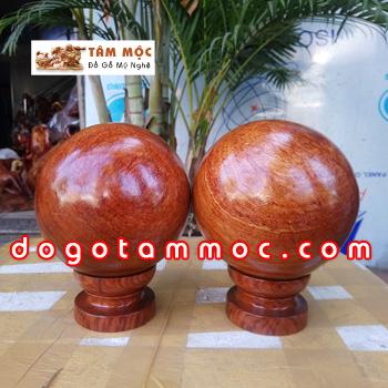 Cặp bi cầu phong thủy gỗ hương Việt