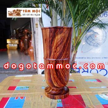 Ống gỗ cắm bút gỗ cẩm chỉ siêu vân