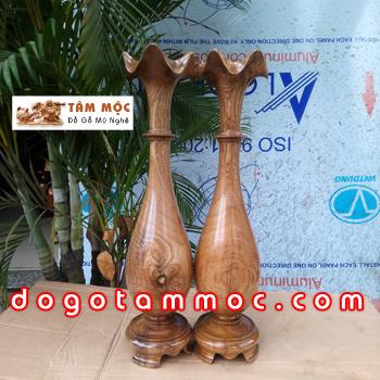 Cặp bình (nậm) củ tỏi gỗ chòi mòi