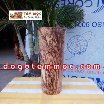 Ống gỗ cắm hoa gỗ mun sừng vân đẹp