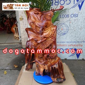 Tượng gỗ Đạt Ma múa võ thế đẹp