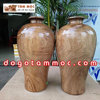 Cặp bình gỗ chòi mòi - Đồ Gỗ Nội Thất
