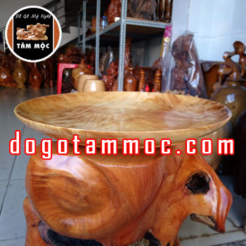 Dĩa bồng bằng gỗ pơ mu Vân Chun Chớp đẹp lạ