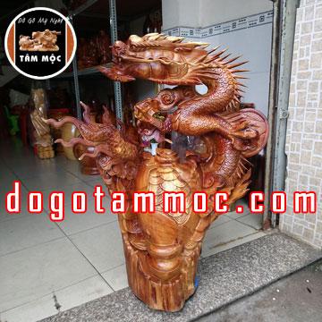 Tượng rồng phong thủy bằng gỗ hương Việt