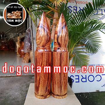 Đầu đạn phong thủy bằng gỗ cẩm chỉ siêu vân đẹp độc lạ