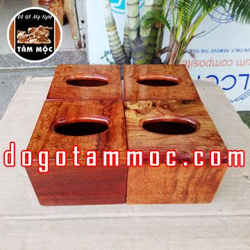 Hộp khăn giấy bằng gỗ hương Việt vân chun đẹp lạ