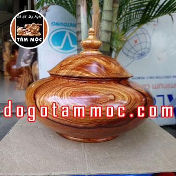 Thố đựng bánh mứt tết gỗ cẩm chỉ Việt