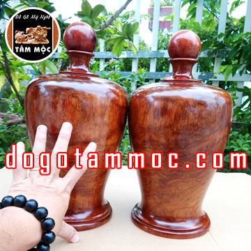 Cặp bình gỗ hương Việt vân tia đẹp độc lạ