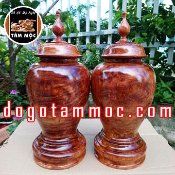 Cặp chum gỗ hương Việt vân tia đẹp độc lạ